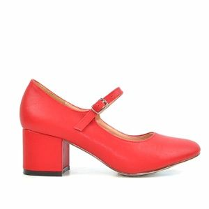 Chase & Chloe Brandi Red Mary Jane Vintage Heel