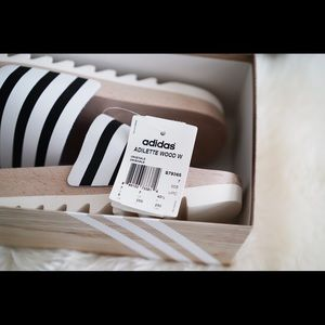 d2886fdf4cd1 adidas Shoes - Adidas women s  adilette  REAL wood slides