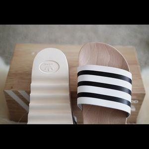 Adidas women's 'adilette' REAL wood slides NWT