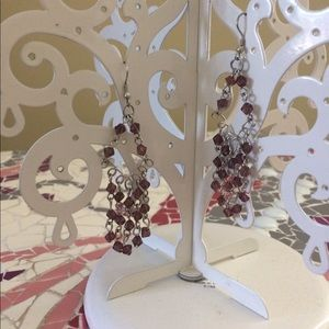 Jewelry - Silver chandelier earrings with purple beads