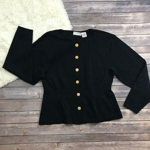 Plus Size Gold Button Up Peplum Jacket
