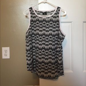 Black and Off White Tank Top