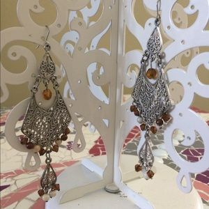 Jewelry - Brown and beige beaded silver chandelier earrings