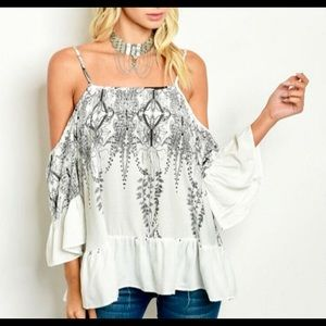 Tops - White shoulder top with black detail