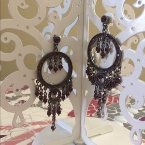 Jewelry - Plum rhinestone chandelier earrings