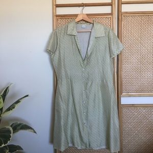 Dresses & Skirts - Green Plaid Silk Button Up Shirt Dress