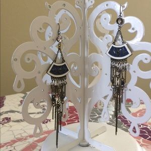 Jewelry - Navy blue and white chandelier earrings