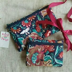 NWT Cosmetics Makeup Bag Set of 2 Zip Pouches