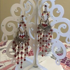 Jewelry - Red beaded silver chandelier earrings