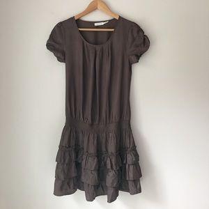 Blue Bird Satin Ruffle Skirt Dress