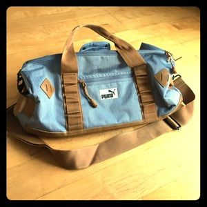 Puma Denim Leather Gym Or Travel Duffle Bag