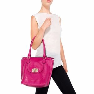New JUSTFAB Fuchsia Vegan Leather Primetime Bag