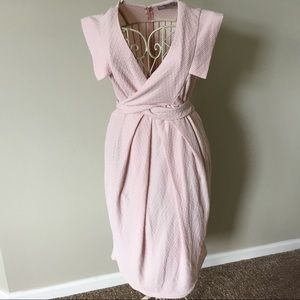 ASOS Light Pink Textured Wrap Dress - Sz 10