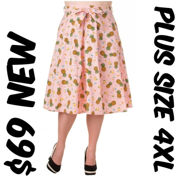 Banned Apparel Skirts | Pin Up Pineapple Clothing Skirt 50s Plus ...