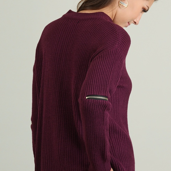 Umgee Sweaters - NWT Mock Neck Knit Sweater with Elbow Zippers