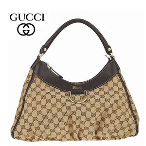 GUCCI LARGE GG CANVAS D-RING GOLD HOBO BAG