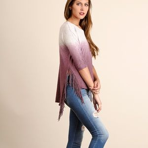 UMGEE Tops - NWT 3/4 Sleeve Top with Fringe Detail on SIDE SLIT