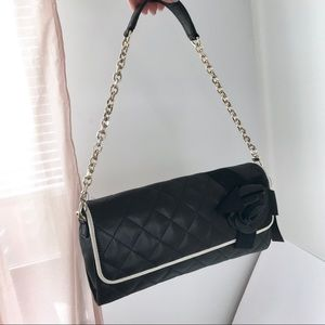 NEW DKNY Camilla Quilted Chain Leather Black Bag
