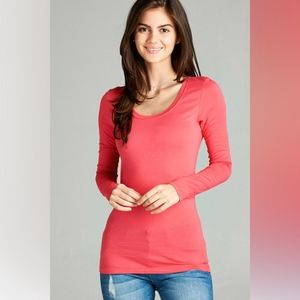 Tops - Basic Coral Round Neck Long Sleeve Tee