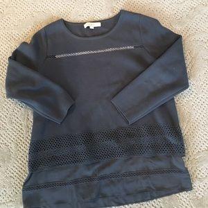 LOFT pointe knit top w/ ruffle trim