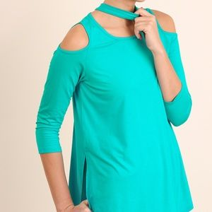 NWT 3/4 Sleeve Mock Neck Top with Open Shoulders