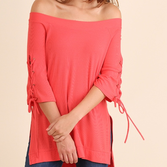 Umgee Tops - Off Shoulder High Low Tunic with Drawstring Sleeve
