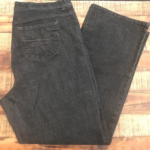 93edc8e81b35b Style   Co Pants - Style   co Straight Leg Denim Black Grey 18W