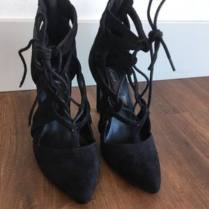 Faux suede lace up heels
