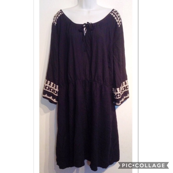 Old Navy Dresses Plus Size Boho Embroidered Peasant Dress Poshmark