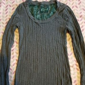 Mudd Sage Green Sweater with Metal Accents size L