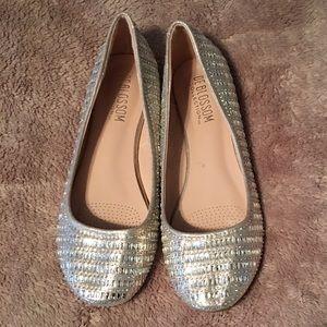 Gold & Rhinestone Flat Shoes Slide On Party Fancy