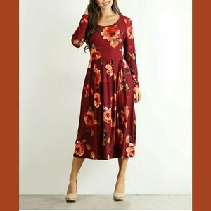 Dresses & Skirts - BURGUNDY & PEACH FLORAL PLEATED MIDI DRESS