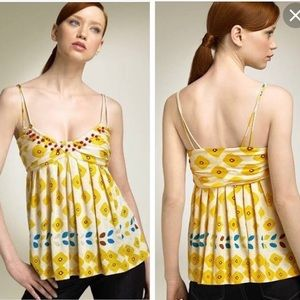 DVF Yellow printed and beaded cute Cami top