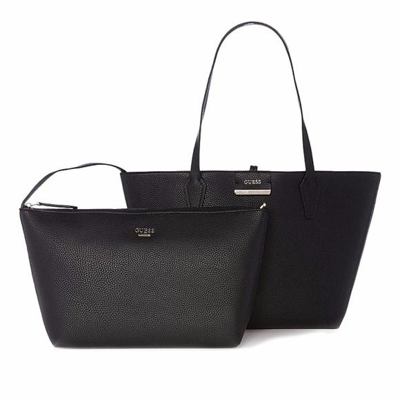 Guess Handbags - NEW Black Tan Reversible Tote + Small Interior Bag 5639a37737f4d