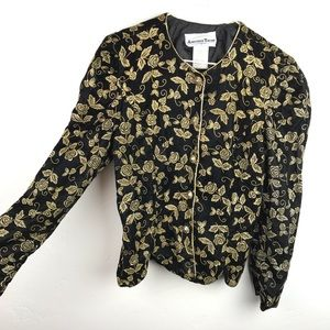90s black velvet jacket w/gold floral embroideries