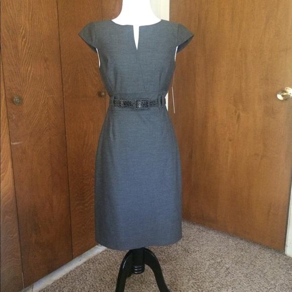 a2174e72f01a Tahari Dresses | Arthur S Levine Belted Gray Dress | Poshmark
