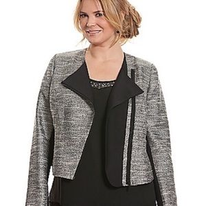 Lane Bryant silver shiny tweed light moto jacket