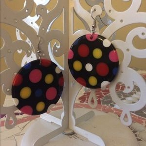 Jewelry - Black polka dotted disk earrings