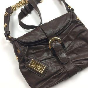 Badgley Mischka Ruched Leather Shoulder Bag
