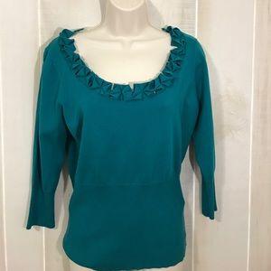 August Silk teal sweater M