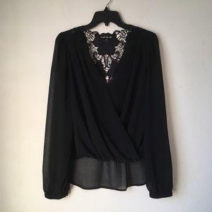 Tops - HighLow Sheer Black Blouse