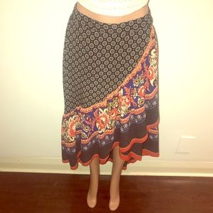 High/low floral & ruffle maxi skirt