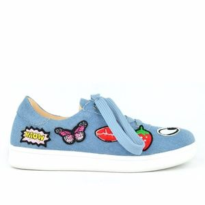 Chase & Chloe Celine Denim Patches Canvas Sneaker