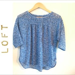 Tops - Loft blue and white pattern top.
