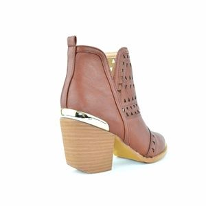 Chase & Chloe Shoes - Chase & Chloe Cognac Weave Cut Ankle Bootie