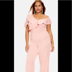 Plus Size Veronica Off Shoulder Ruffle Jumpsuit