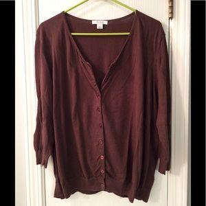 71% off Dress Barn Sweaters - Lightweight Brown Cardigan Sweater ...