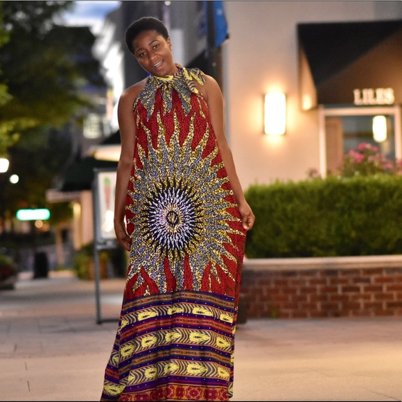 African Print Women Maxi Long Dress For Plus Size
