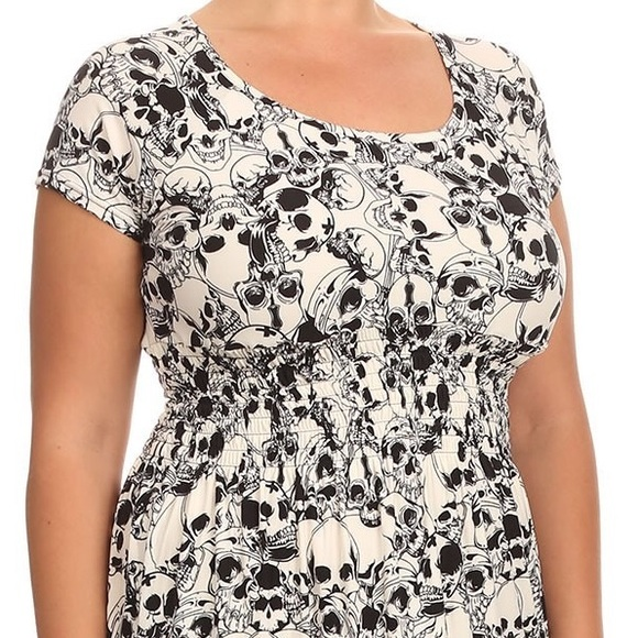 Plus Size Skull Pattern Maxi Dress Buttersoft Boutique