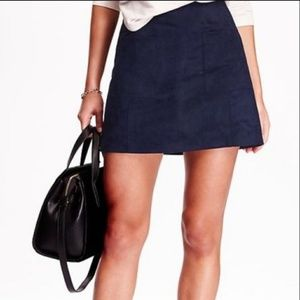 [Suede Skirt] Navy Blue Suede Mini Skirt